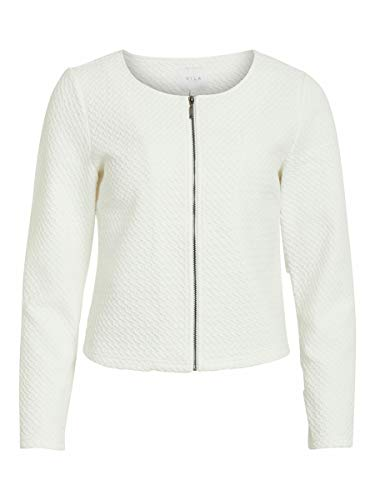 Vila Clothes Vinaja New Short Jacket-Noos Chaqueta de Traje, Blanco (Snow White Snow White), 40 (Talla del Fabricante: Large) para Mujer