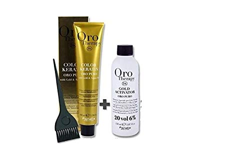 Set Colorazione Capelli 100 ml Oro Therapy + ossidante 20 volumi 150 ml+ Pennello - Fanola (7.34)