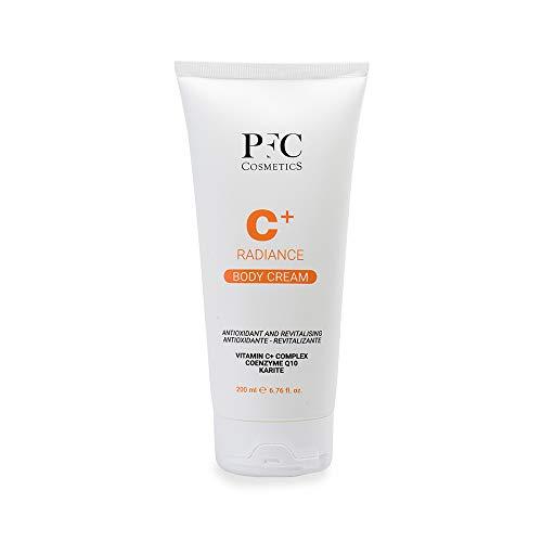 PFC Cosmetic Crema Corporal Radiance C+ Body Cream 200ml con Lipomembranas BMS Hydroviton® Glicerina Vegetal Manteca de Karité Complejo de Vitamina C Ceramidas Vitamina E y Ceoenzima Q10.