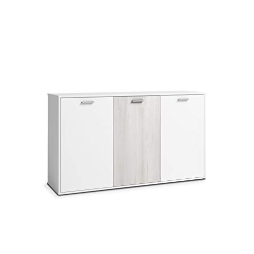 Inhome 15020TR – Buffet mueble comedor, aparador de cocina salón u oficina, acabado en color Blanco y Shamal, modelo Legos, medidas: 140 x 80 40 cm de fondo