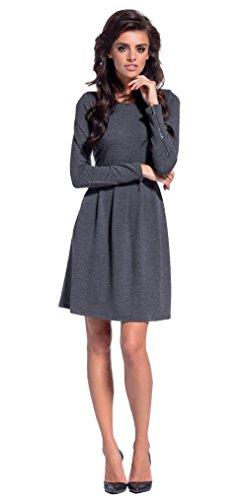 Lemoniade trendiges Kleid mit frechen Reißverschlüssen an den Langen Ärmeln, dunkelgrau, Gr. M