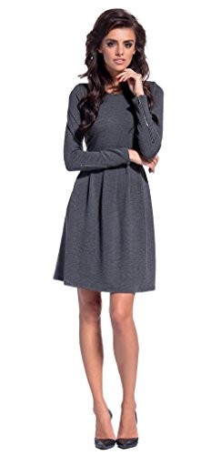 Lemoniade trendiges Kleid mit frechen Reißverschlüssen an den Langen Ärmeln, dunkelgrau, Gr. S