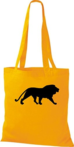 Unbekannt Stoffbeutel; Tiermotiv Raubkatze, Löwe, König der Tiere; Farbe Gelb