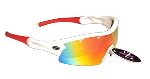 Rayzor Liteweight UV400 Black Sports Wrap Ski Sunglasses,1 PCE Vented Red Mir.