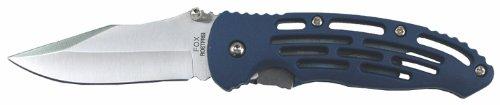 Jack knife, one-handed, blue, slit handle, belt clip