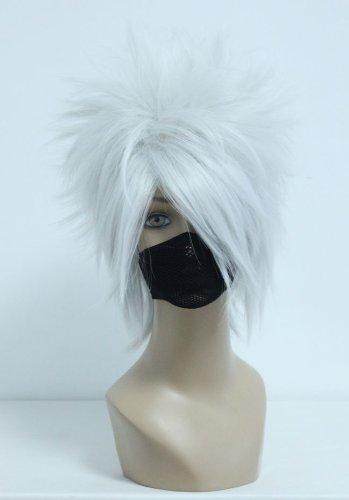 cosplaza Cosplay Wigs kostueme peluca Hatake Kakashi Plata Blanco 35 Cm Anime Carnaval Fiesta pelo