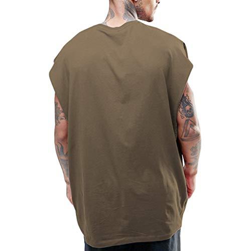 Xmiral Tanktop Herren Ärmellos Einfarbig Hip Hop Stil Lose Rundkragen Hemd Tops Kurzarmshirt Lose Sportshirt Poloshirt(Braun,L)