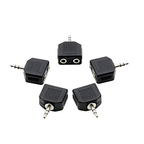lahomia 5 Piezas 1 a 2 Divisor de Audio Estéreo Micrófono Y Adaptador Conector 3,5 Mm a 3,5 Mm