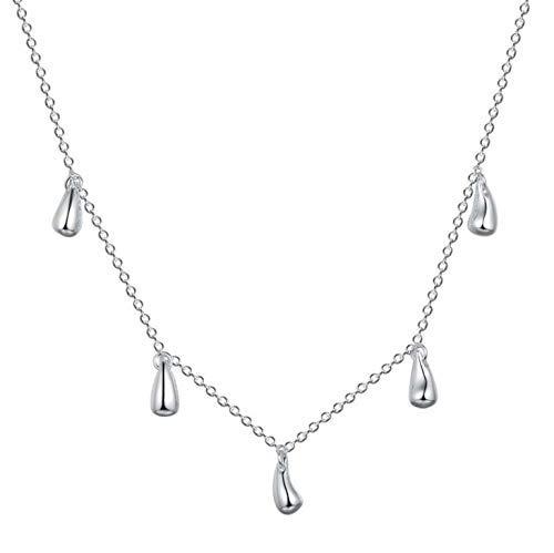 Fgurtu Frau Halskette 4-teiliges Silber Schmuck Halsketten Ohrringe Ringe Silber Halskette Mädchen-Halsketten-Geschenk