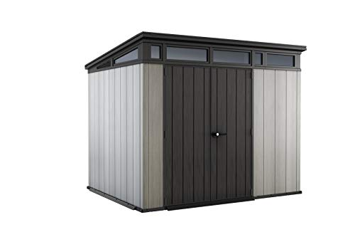 Keter Artisan Pent Outdoor Plastic Garden Storage Shed, Grey, 9 x 7 ft