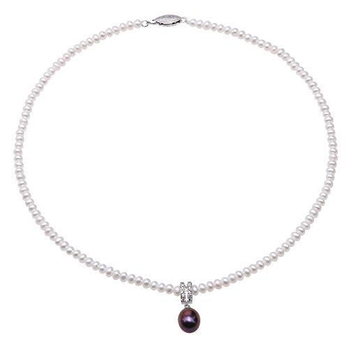 JYX - Collana girocollo con perle bianche di acqua dolce da 4 a 5 mm, con perle bianche da 9 x 11 mm