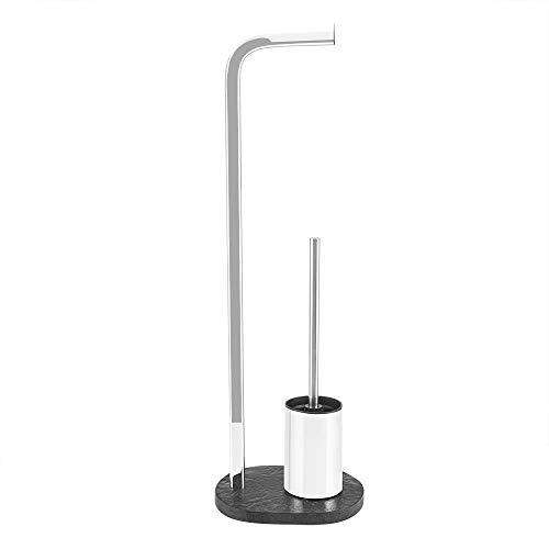 Toilettenpapierhalter mit bürste verchromtem Stahl Harzboden 23x17x75cm für Badezimmer,Silber