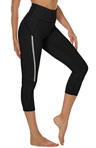 icyzone Mallas pirata de deporte para mujer, para yoga, fitness, talle alto, pantalones de chándal negro (Solid Black) S