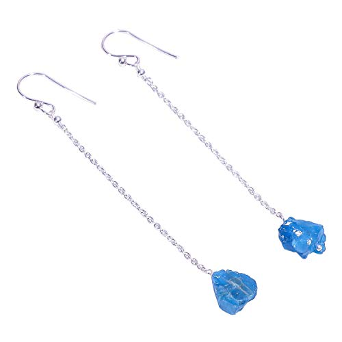 925 Sterling Silber Ohrringe, natürlicher roher Neon-Apatit-Edelstein, Damenschmuck RSE1664