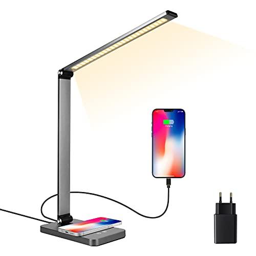 Lámpara de mesa LED, lámpara de noche con protección para los ojos, lámpara de lectura con USB, carga inalámbrica QI para smartphone, cargador inalámbrico, 3 colores y 5 niveles de brillo