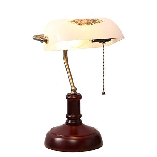 Hotel bureaulamp vintage bank oude bureaulamp slaapkamer studie bedlampje massief hout antiek Chinese klassieke retro decoratief licht E27
