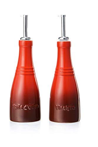 Le Creuset Öl- und Essig-Set, 240 ml, Steinzeug, 18,5 cm Höhe, Kirschrot
