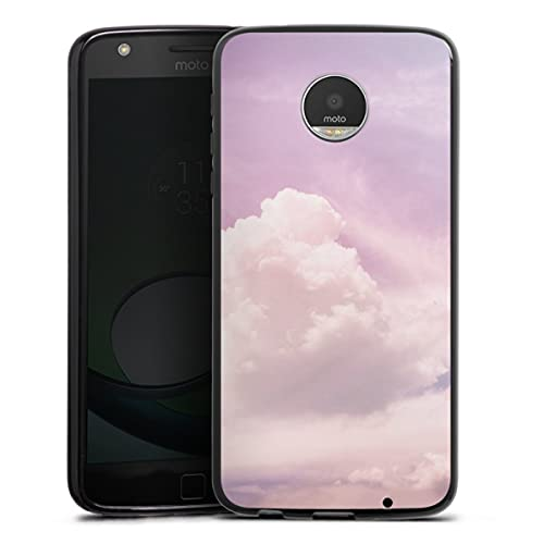 DeinDesign Silikon Hülle kompatibel mit Lenovo Moto Z Play Hülle schwarz Handyhülle Wolken pink Natur