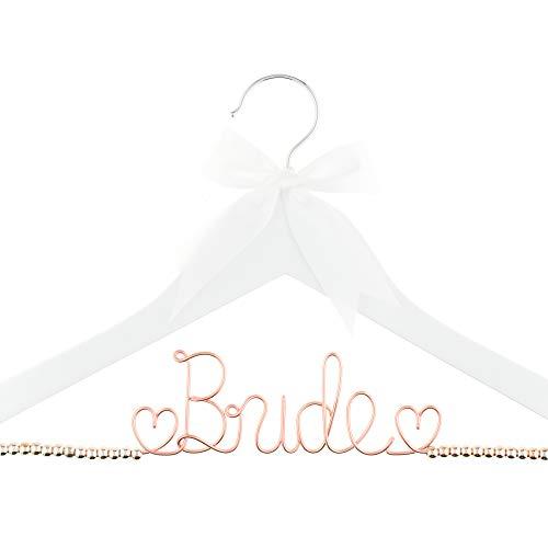 Ella Celebration Bride to Be Wedding Dress cabide de madeira e aro para noivas, vestidos, White With Rose Gold Wire and Rose Gold Beads