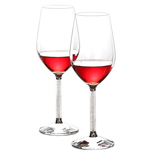 2 unids Vino Vino Copa de Cristal Juego de Diamante Libre de Plomo casero Vidrio Vidrio Copa de Regalo Creativo Caja de Regalo,350ml