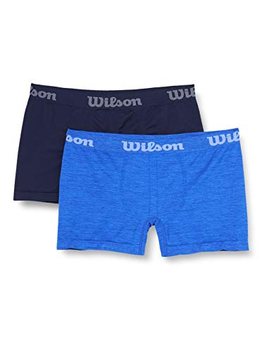 Wilson Herren Seamless Boxershorts (2er Pack), Blau/Blaue Surf, L