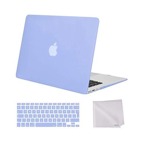 MOSISO MacBook Air 13 inch Case Older Version 2010-2017 Release A1369 A1466, Plastic Hard Shell Case & Keyboard Cover Skin & Wipe Cleaning Cloth Only Compatible with MacBook Air 13 inch, Serenity Blue