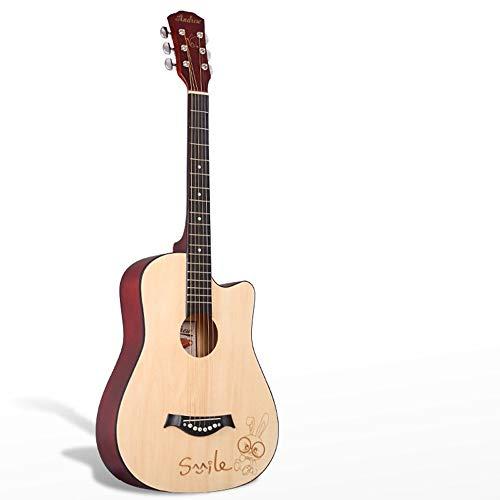 Boll-ATur 38-Zoll-Ballad-Anfängergitarre - 6-saitige Basswood-Gitarre, schwarze Gitarrentasche Elektronisches Stimmgerät Ersatzsaiten Vollverklebter Knopf Palisander-Griffbrett