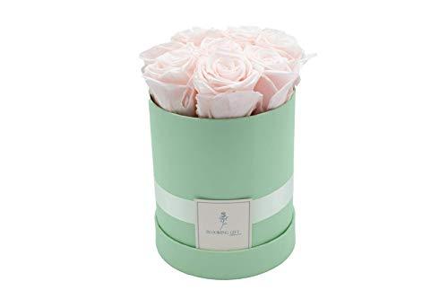 Blooming Gift - Infinity Flowerbox - Rosen-Box - Blumenbox - Ewige Blume - Geschenk - 3 Jahre haltbar - Hellgrün/Baby Rosa - Große Medium: H17 x Ø15cm