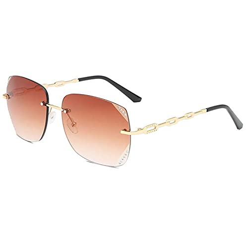 DAIDAICDK Gafas de Sol sin Montura para Mujer sección de Diamante Montura Grande Hueca Gafas de Sol Gafas graduadas para Mujer