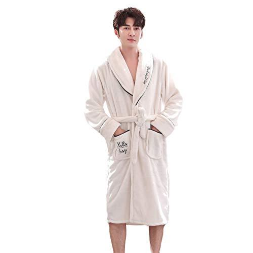 LaoZan Unisex Bademantel Cardigan Morgenmantel mit Gürtel Winter Flanell Synthetik Schlafanzüge Nachthemd (Weiß(Männer), Asia XL)