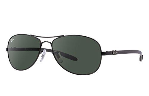 Ray-Ban Herren Polarisierte Sonnenbrille RB8301, 59 mm Gr. 59 mm, Schwarzer Kohlefaser-Rahmen, grüne G-15 Linse