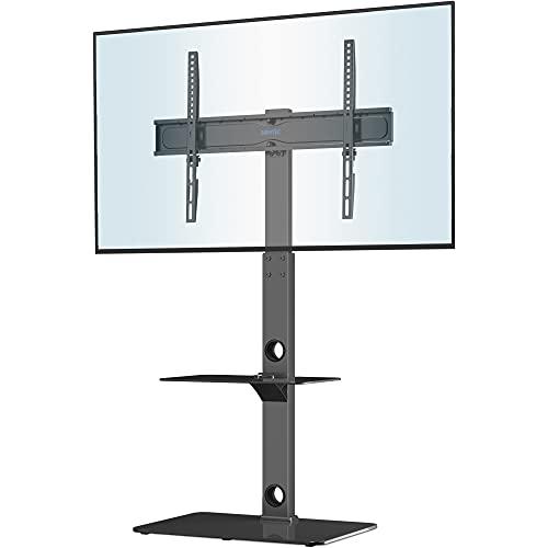 BONTEC Universale Supporto TV da pavimento per TV da 30-70 pollici LED OLED LCD, Porta TV da Terra Regolabile in Altezza con Ripiani in Vetro Temperato a 2 Livelli Max VESA 600x400mm, Fino a 40KG