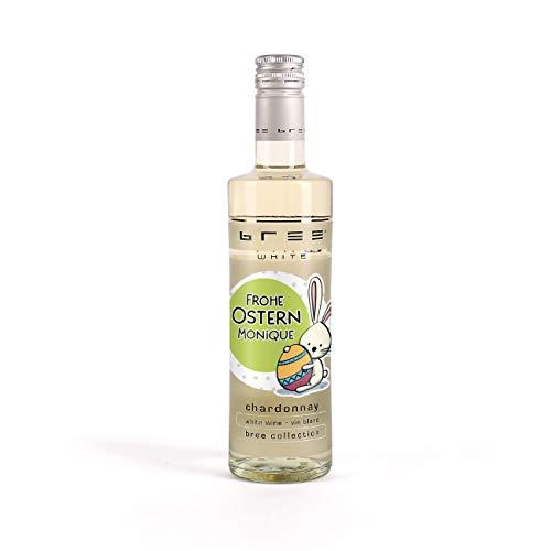 Herz & Heim® Bree Wein in Kleinflasche (1 x 0.25 l) ein effektvolles Ostergeschenk mit Namen im Etikett Weiß