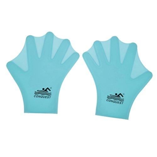 Generic Schwimmhäuten / Schwimmen Handschuhe Silikon Hand Paddel - Aqua Fitness Handschuh - Swim Gloves - Blau, Erwachsene