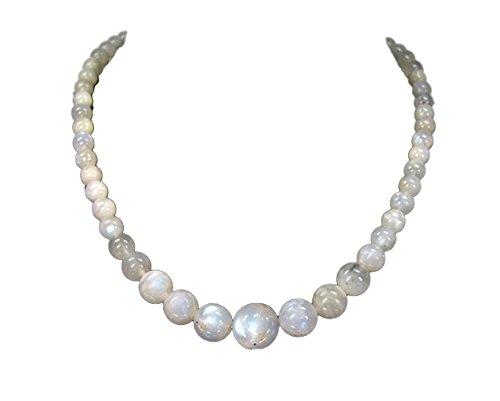 Luxus Halskette aus Mondstein in verschiedenen großen Kugelform verschluss aus 925er Silber