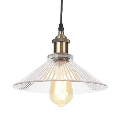 Lámparas colgantes, iluminación de araña ajustable en altura de metal industrial vintage, lámparas de techo colgantes con pantalla de vidrio para baño de cocina,Bronce