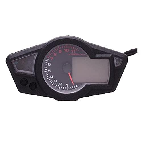 flygogo 2.5'LCD Digital Speedometer odómetro retroiluminación para Motocicletas, Bicicleta (Color : Black)
