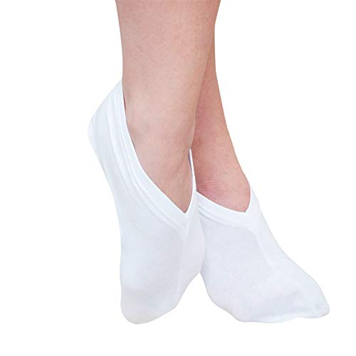 Eurow Premium Cotton Spandex Cosmetic Moisturizing Natural Therapy Socks for Dry Feet Healing and Beauty - White 2 Pairs