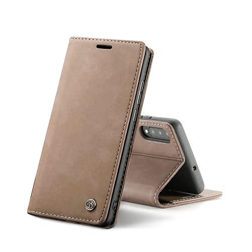 Chocoyi Compatible Funda Samsung Galaxy A50/A30s/A50s Flip Leather Edition,magnético, función de Soporte y Ranuras para Tarjetas-Marron Oscuro