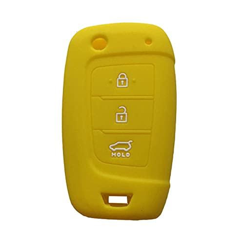 Funda para llave de coche, material de silicona suave, llavero de protección completa, apto para Hyundai Solaris/Elantra/Santa, amarillo