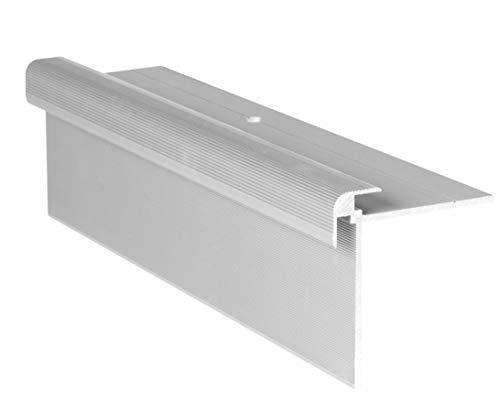RenoProfil 100 cm Treppenprofil CLASSIC 7 mm für Laminat, Vinyl und Teppich - Treppenkantenprofil für Treppenverkleidung und Treppenrenovierung - Farbe: Silber-Natur