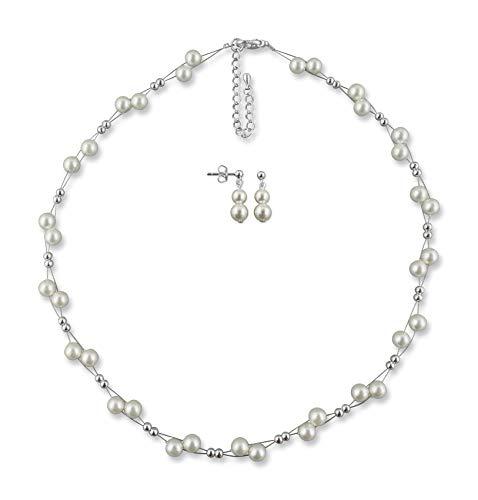 Rivelle Damen Brautschmuck 2er Set creme Schmuckset Perlen Kette Collier Ohrringe Hochzeit Geschenkbox
