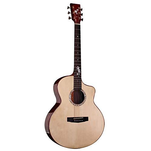 NUYI Spruce Coco Piña Guitarra Acústica para Principiantes Guitarra Estudiante,JF