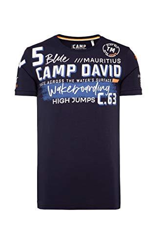 Camp David Herren T-Shirt mit vielen Label-Applikationen