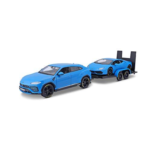 Bauer Spielwaren Design Elite Transporter Lamborghini Urus + Lamborghini Huracán Coupé: Modelltransporter mit Anhänger, 2 Modellautos, Türen zum Öffnen, Maßstab 1:24, 43 cm, blau (532753)