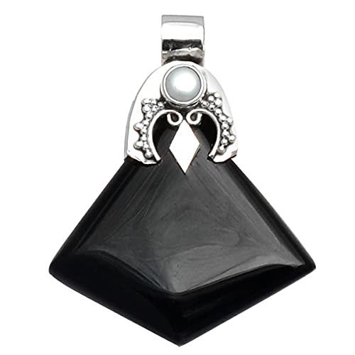 Silver Palace Colgante antiguo hecho a mano de plata de ley 925 de ónix negro natural para mujeres y hombres