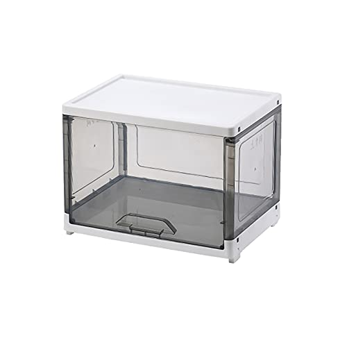 Sostenible Plástico Cajas de Utilidad Plegable Multifuncional Caja de Almacenamiento Contenedores,Apilable Cubos,Claro Contenedores de Almacenamiento Contraíbles con Tapas-Gris 46l(17.7x12.5x12.5inch)