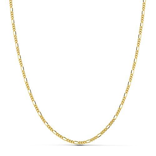 Chaîne Figaro 3x1, 1.7 mm Or 18 ct (750/1000) 60cm - Collier unisex, femmes, hommes