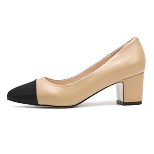 Schuhe Mit Mittleren Absätzen Quadratischem Kopf Für Damen Farblich Passende Damenschuhe Zweifarbige Sandalen Damenschuhe Elegant (Color : Apricot, Size : 39/US8)