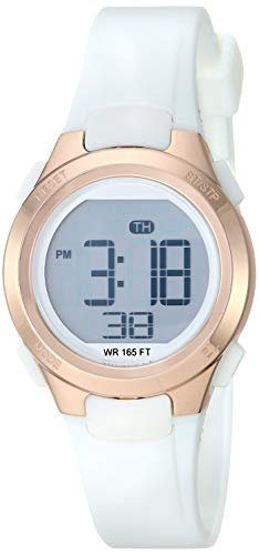 Amazon Essentials Women's Digital Chronograph Rose Gold-Tone and White Resin Strap Watch